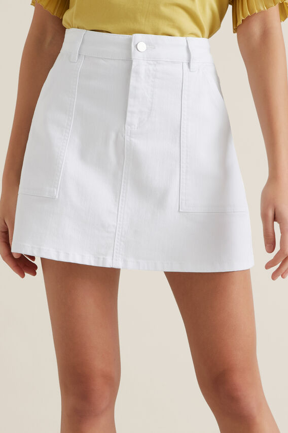 A-Line Denim Mini Skirt  WHITE  hi-res