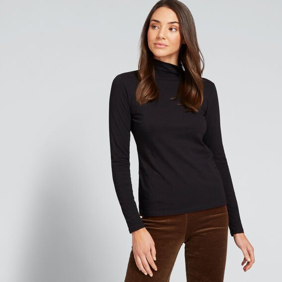 Classic Roll Neck Top  BLACK  hi-res
