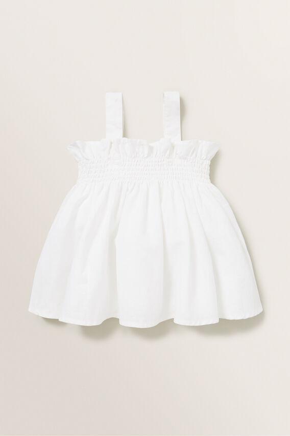 Linen Shirred Top  WHITE  hi-res