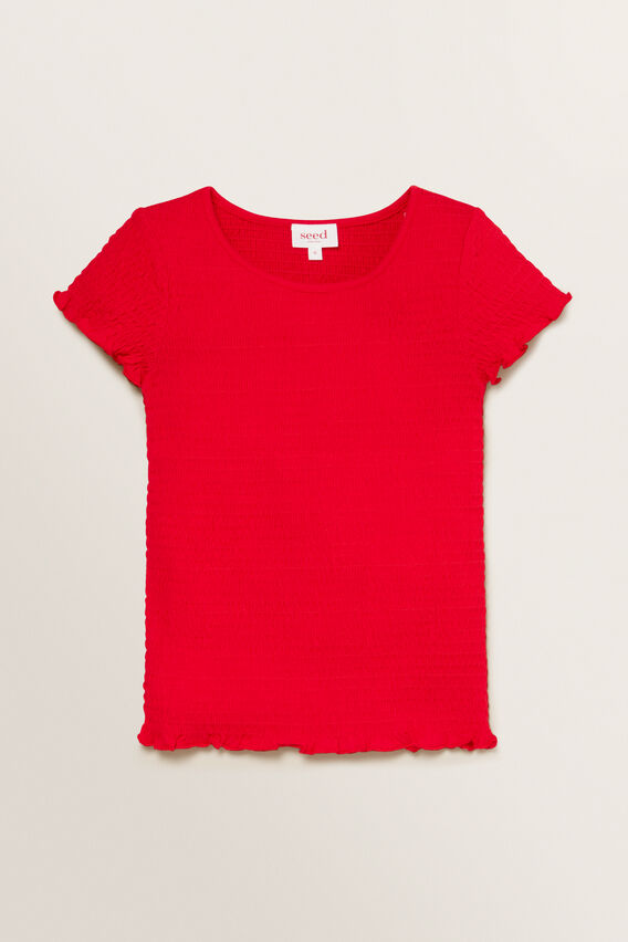 Shirred Tee  APPLE RED  hi-res