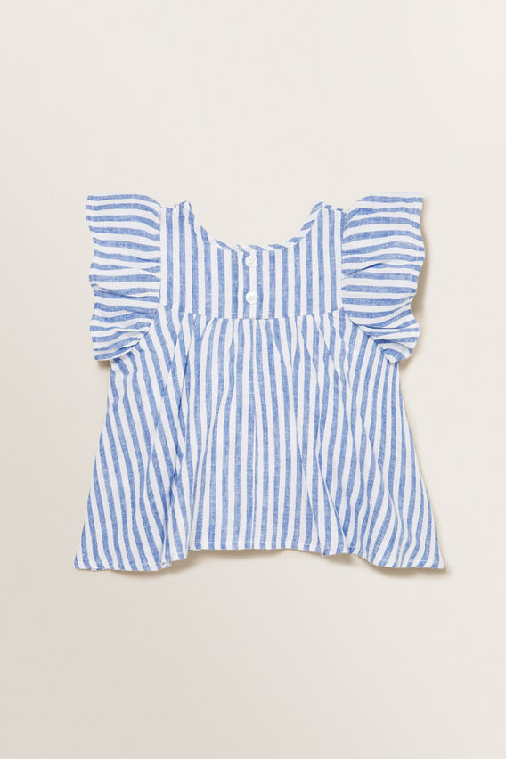 Stripe Top  WHITE/OCEAN BLUE  hi-res