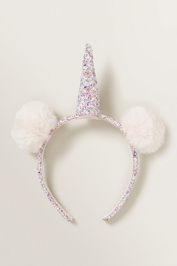 Glitter Pom Pom Unicorn Headband  MULTI  hi-res