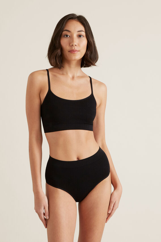 Seamfree Rib Bralette  BLACK  hi-res