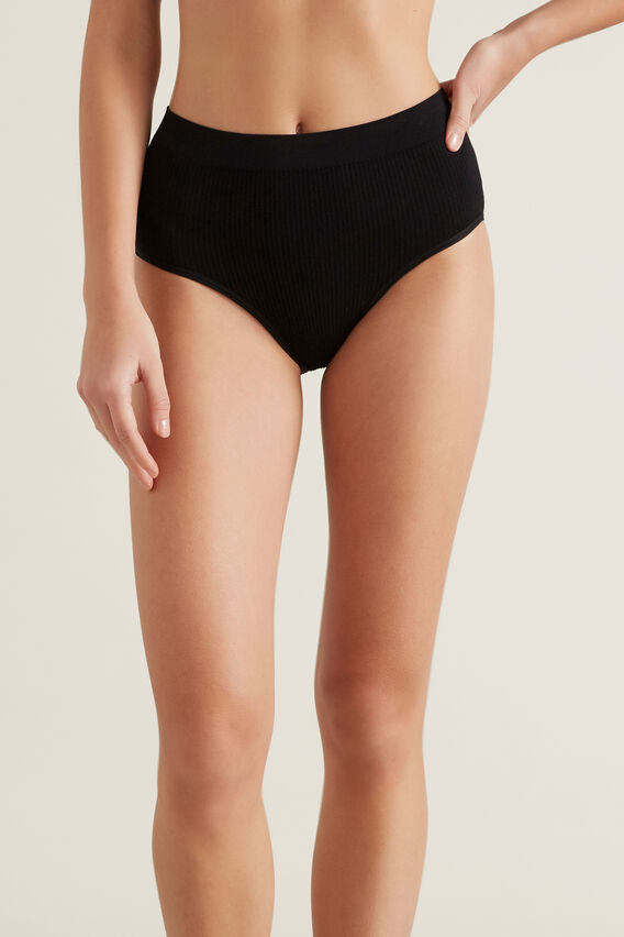 Seamfree High Waist Brief  BLACK  hi-res