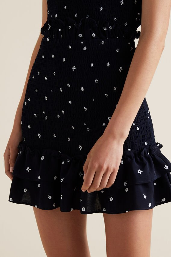 Shirred Floral Skirt  MIDNIGHT  hi-res