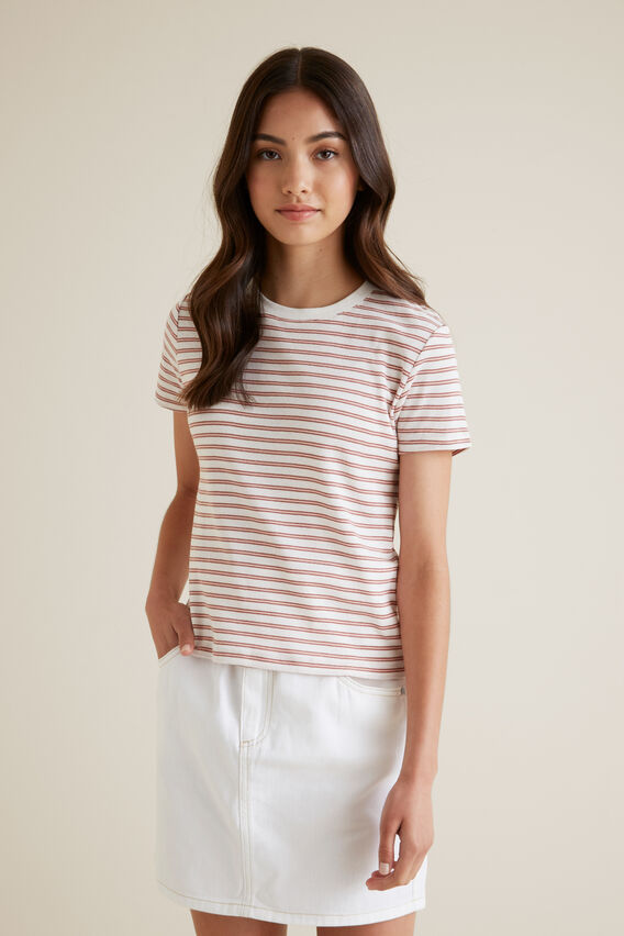 Stripe Tee  CLAY PINK  hi-res