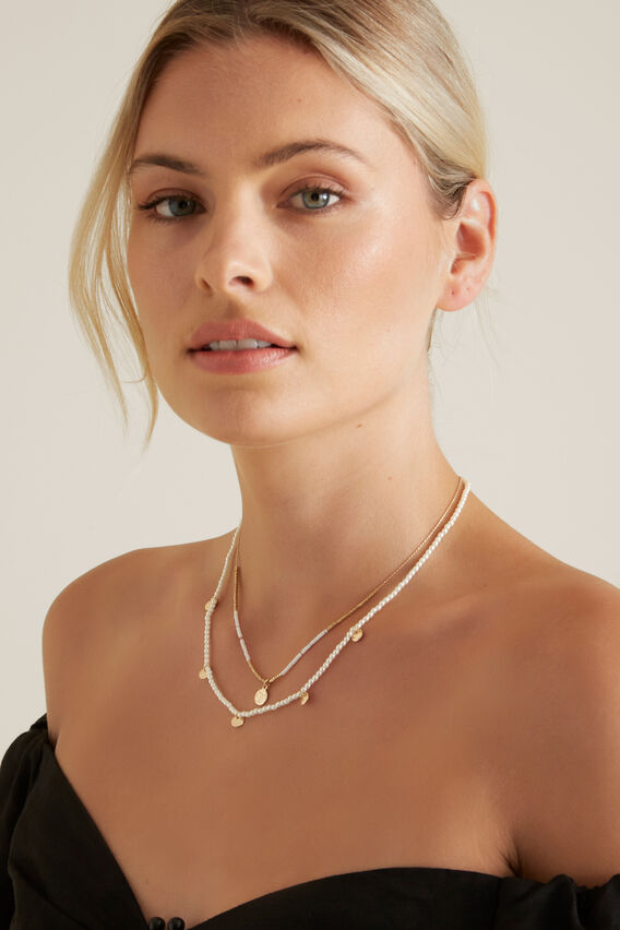 Layered Bead Necklace  WHITE/GOLD  hi-res