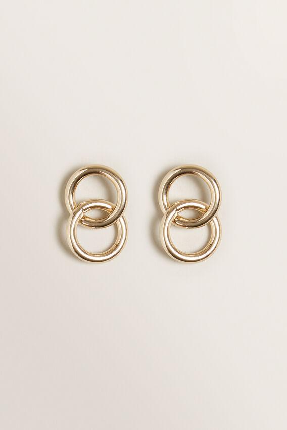 Circle Linked Earrings  GOLD  hi-res