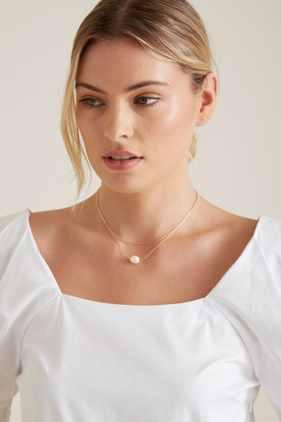 Layered Necklace  GOLD PEARL  hi-res