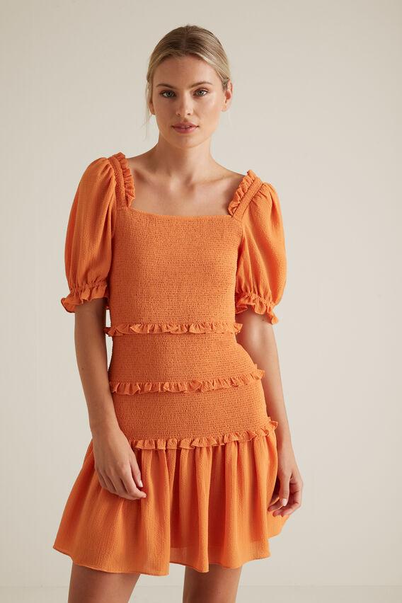 Shirred Mini Dress  SOFT CORAL  hi-res
