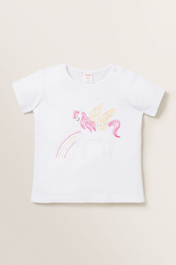 Embroidered Pegasus Tee  WHITE  hi-res