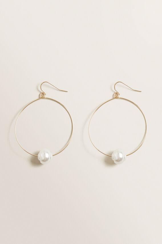 Simple Pearl Hoops  GOLD  hi-res