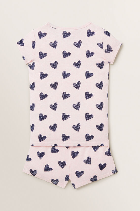 Heart Short Sleeve Pyjamas  ICE PINK MARLE  hi-res