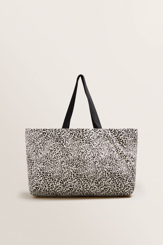 Canvas Tote  BLACK/WHITE OCELOT  hi-res