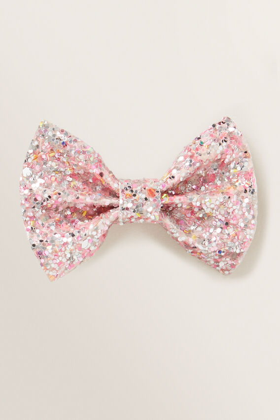 Glitter Bow Duck Clip  PINK  hi-res
