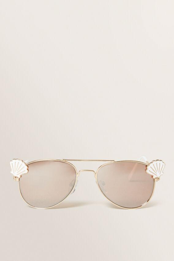 Mermaid Shell Aviator Sunglasses  GOLD  hi-res