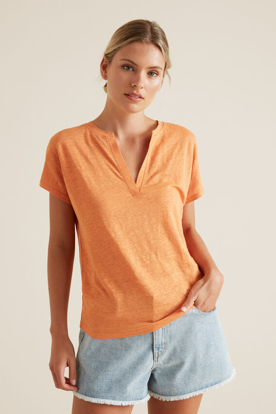 V Neck Linen Top  SOFT CORAL  hi-res