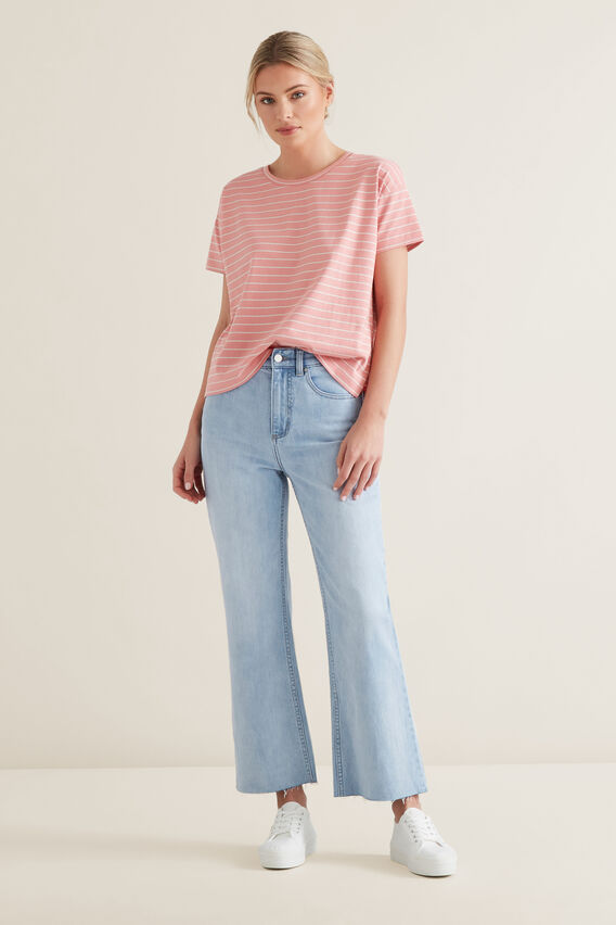 Boxy Split Hem Tee  CARNATION STRIPE  hi-res