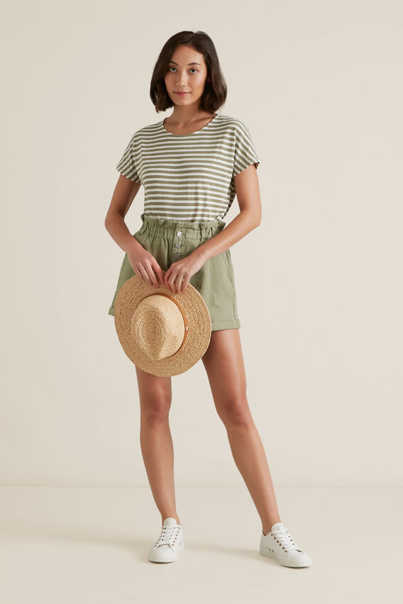 Textured Striped T Shirt  WASHED OLIVE STRIPE  hi-res