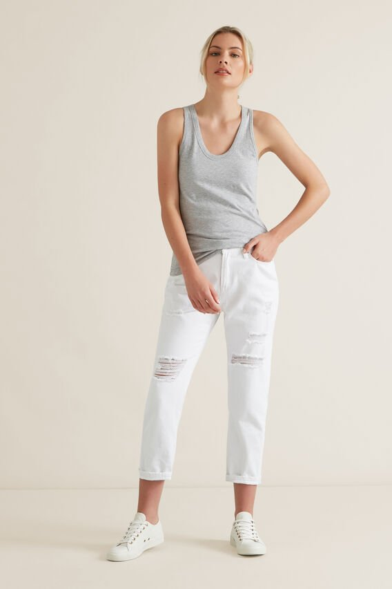 Scoop Neck Singlet  MID GREY MARLE  hi-res