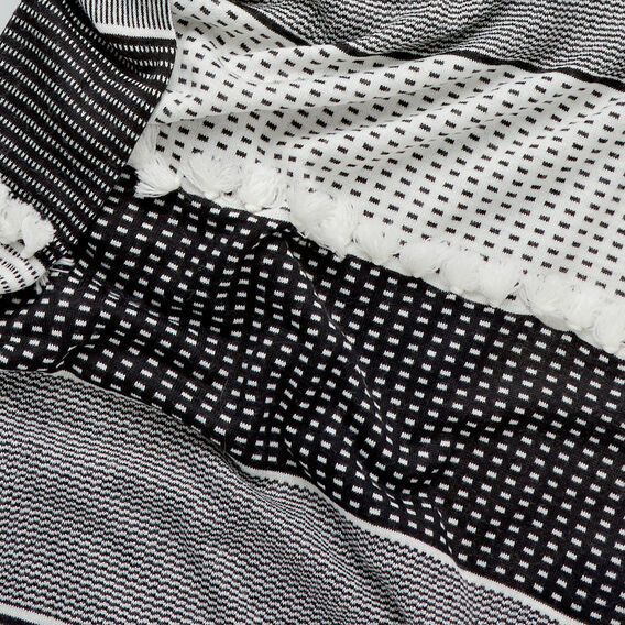 Block Fringe Snood  BLACK/WHITE  hi-res