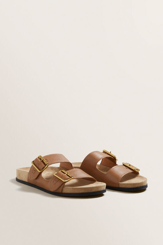Amelia Buckle Slide  TAN  hi-res