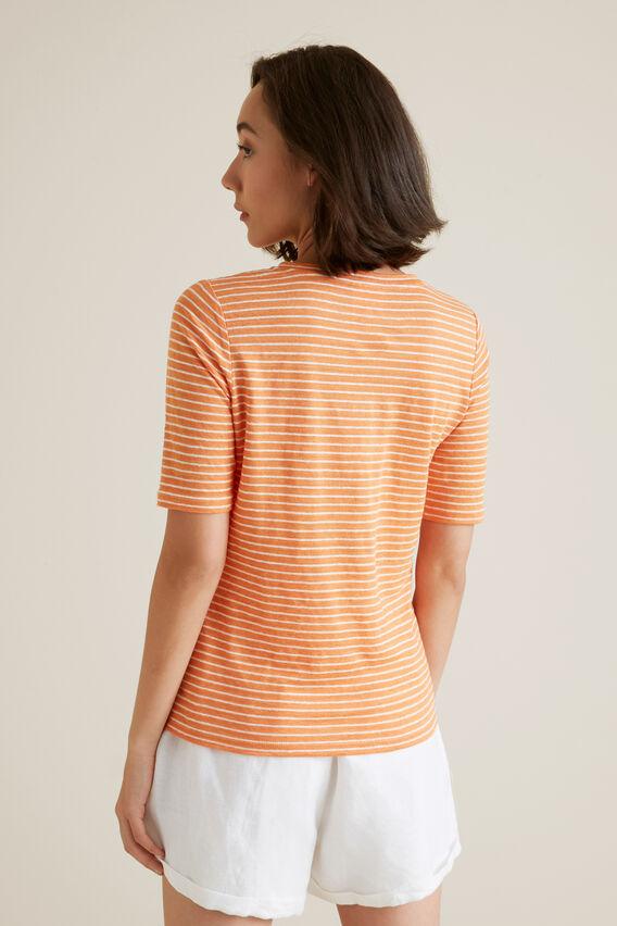 Henley Linen Stripe Top  SOFT CORAL STRIPE  hi-res