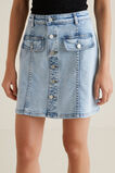 Button Front Mini Skirt  LIGHT WASH DENIM  hi-res