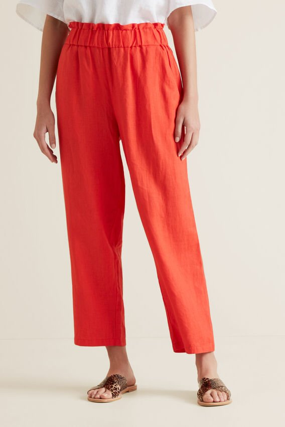 Linen Relaxed Pant  BOLD POPPY  hi-res
