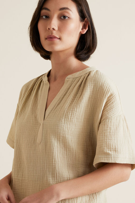 Textured Crinkle Blouse  SAND DUNE  hi-res