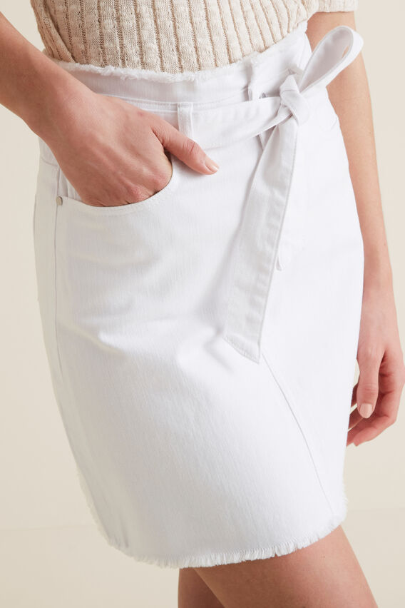 Belted Denim Skirt  WHITE  hi-res