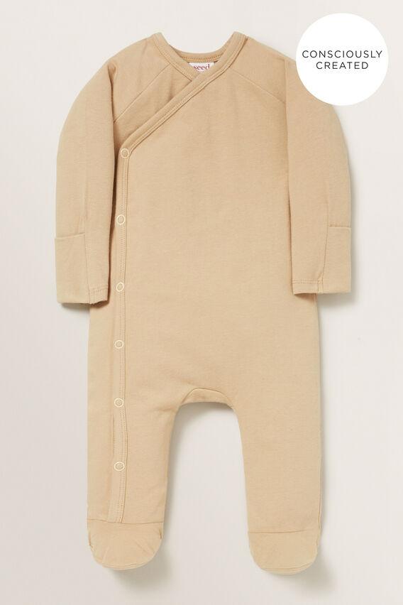 Organic Wrap Jumpsuit  WHEAT  hi-res