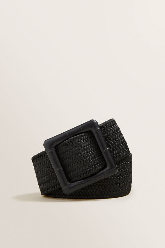 Square Buckle Waist Belt  BLACK  hi-res