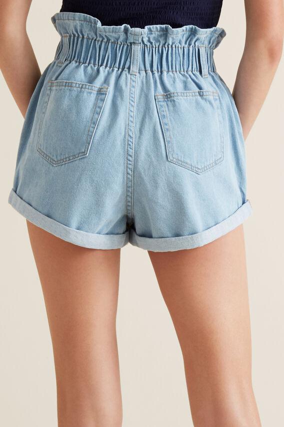 Paperbag Shorts  BLEACHED DENIM  hi-res