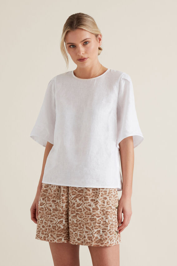 Flutter Sleeve Linen Top  WHISPER WHITE  hi-res