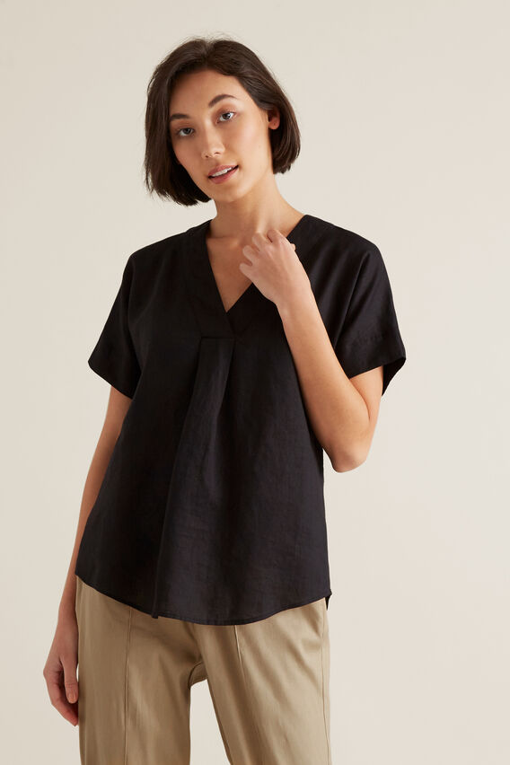 V Neck Linen Top  BLACK  hi-res
