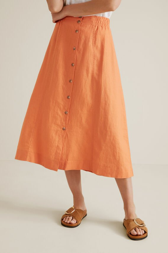 Linen Flowing Skirt  SOFT CORAL  hi-res