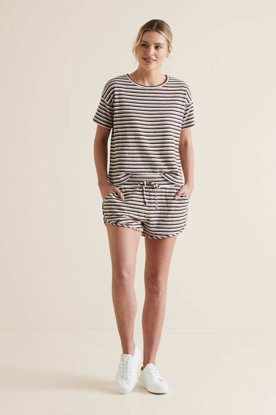Textured Jersey Short  RAISIN STRIPE  hi-res
