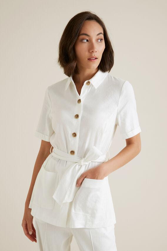 Belted 70's Shirt  CLOUD CREAM  hi-res