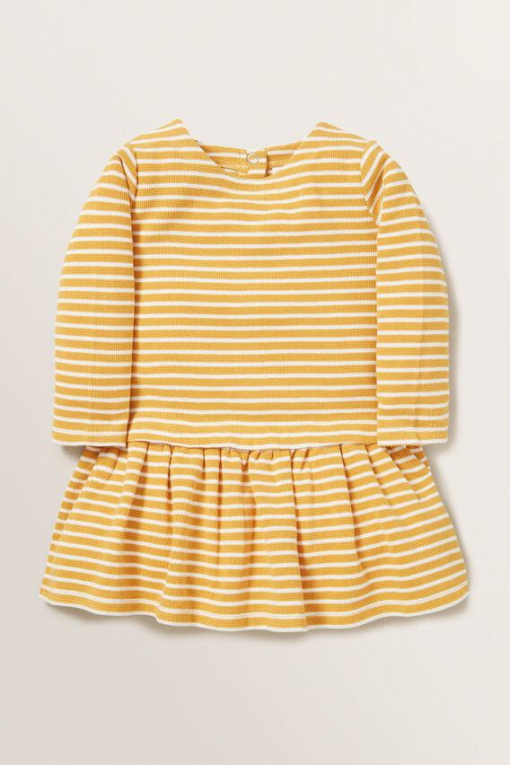 Waffle Stripe Dress  OCHRE  hi-res
