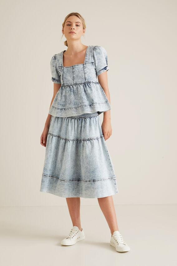Acid Wash Tiered Skirt  SKY ACID WASH  hi-res