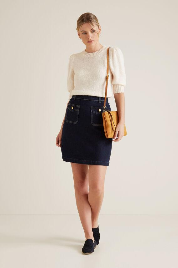 Pocket Detail Denim Skirt  BLUE IRIS DENIM  hi-res