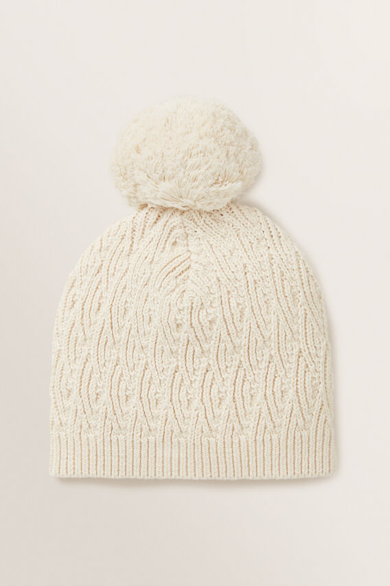 Pointelle Knitted Beanie  RICH CREAM  hi-res