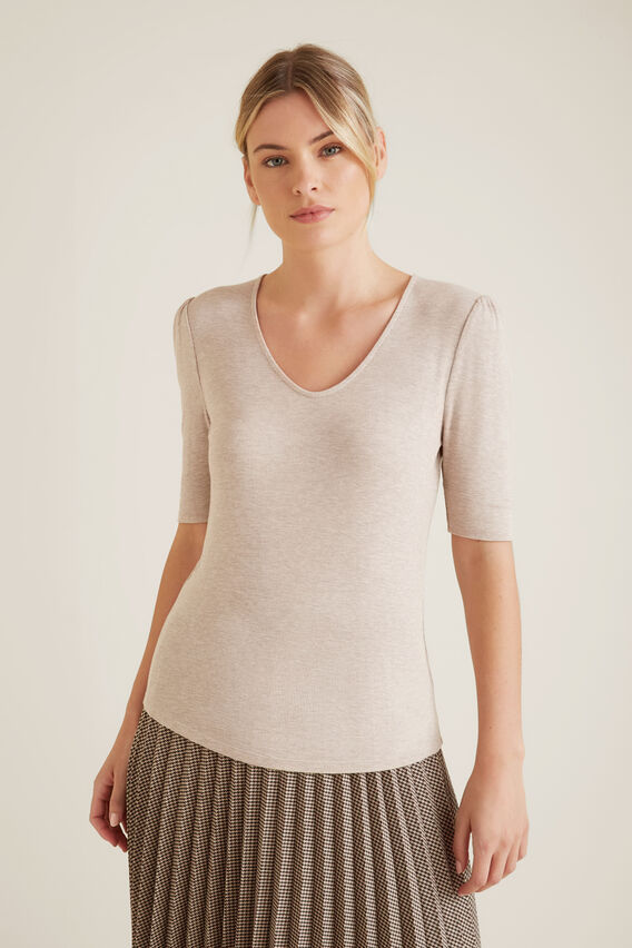 V Neck Fitted Rib Top  SAND MARLE  hi-res