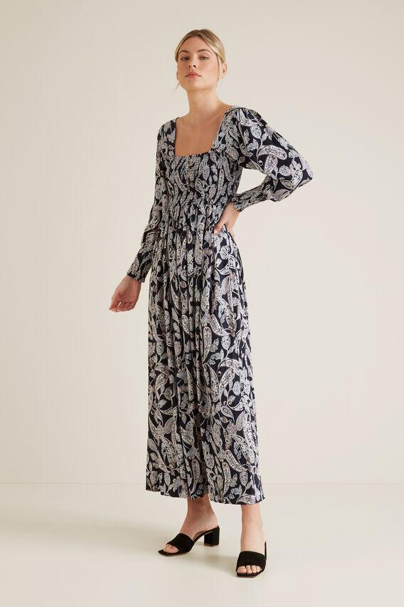 Shirred Paisley Dress  IRIS PAISLEY  hi-res