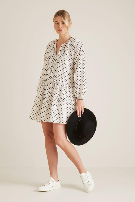 Spotty Tiered Dress  CREAM SPOT  hi-res