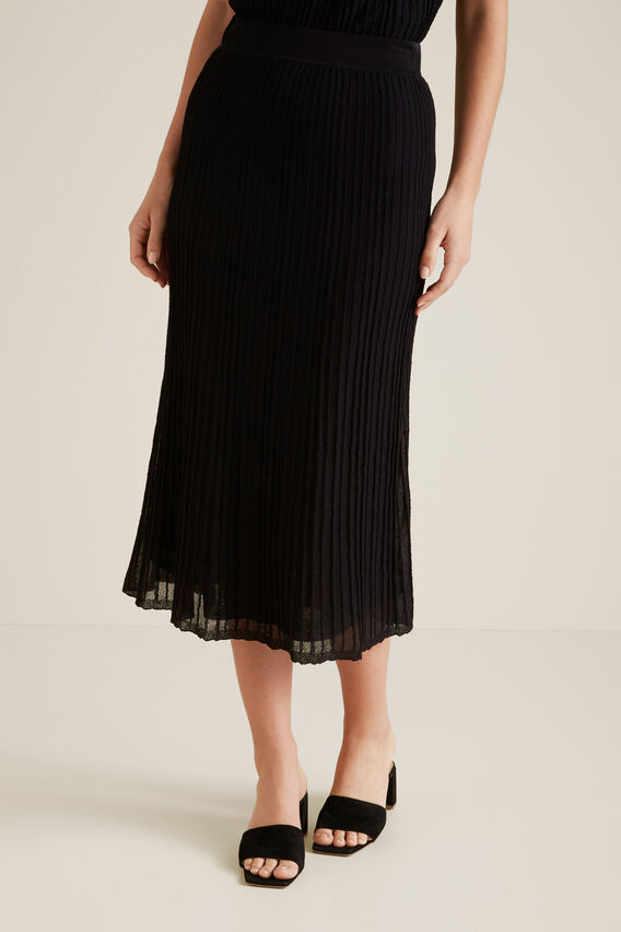 Pleated Knit Skirt  BLACK  hi-res