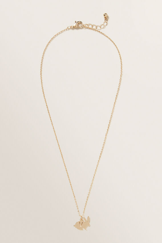 Bunny Initial Necklace  V  hi-res
