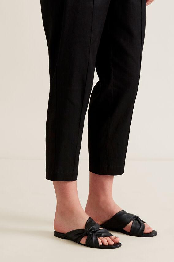 Kayla Leather Twist Slide  BLACK  hi-res