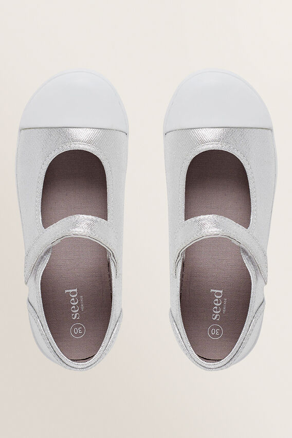 Mary-Jane Canvas Shoes  SILVER  hi-res